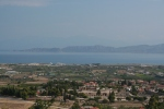Northward view from road to Acrocorinth, showing Ancient Corinth, Lechaion (far right), and Perachora Peninsula