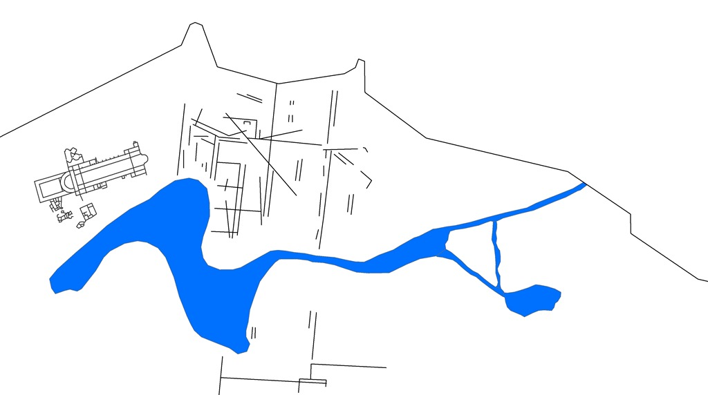 Map of Lechaion harbor, showing lines of settlement (after Romano 2003)