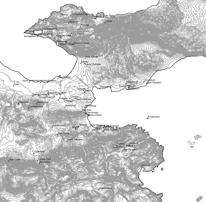Base Map of Corinthia, 20 m contours (SRTM data), with archaeological sites