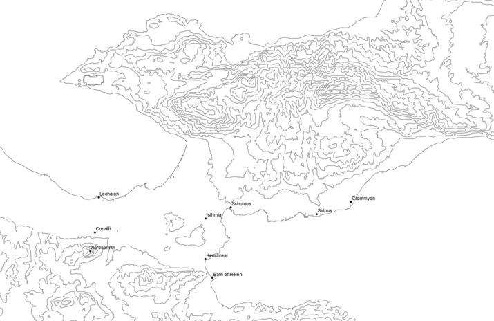 Base Map of Corinthia, 100 m contours with major archaeological sites (SRTM data)