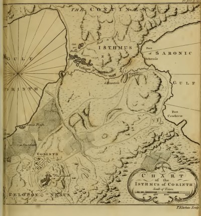Map in Richard Chandler's Travels in Greece, or an Account of a Tour Made at the Expense of the Society of Dilettanti. Oxford: 1776, p. 241