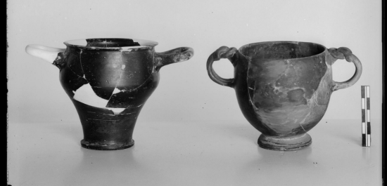 Two black skyphoi of late 5th century type