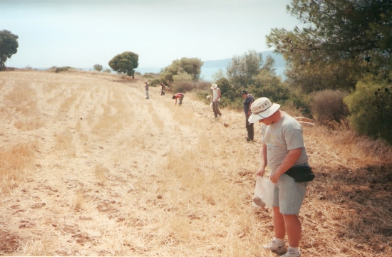 A field team of the Eastern Korinthia Archaeological Survey lines up for fieldwalking near Kenchreai. Photo by David Pettegrew, 2000.