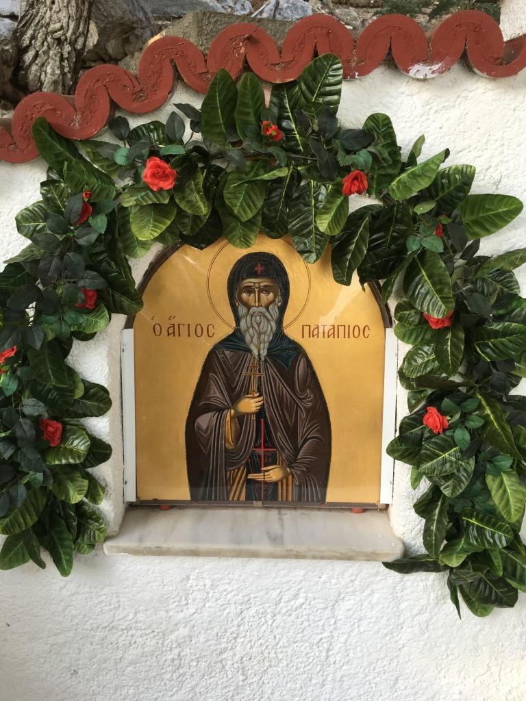 Saint Patapios icon at his monastery above Loutraki.