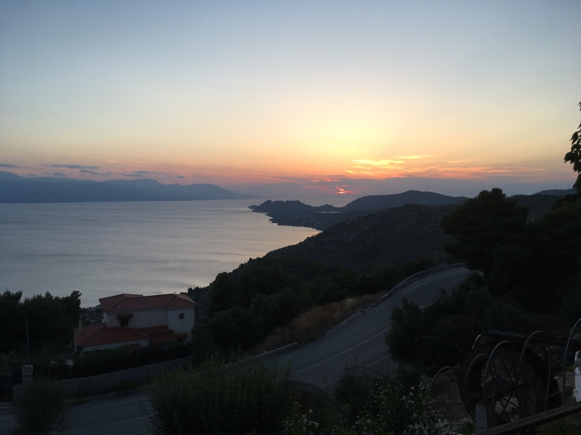 Sunset over the Corinthian Gulf from the Panorama Taverna on road to Perachora.