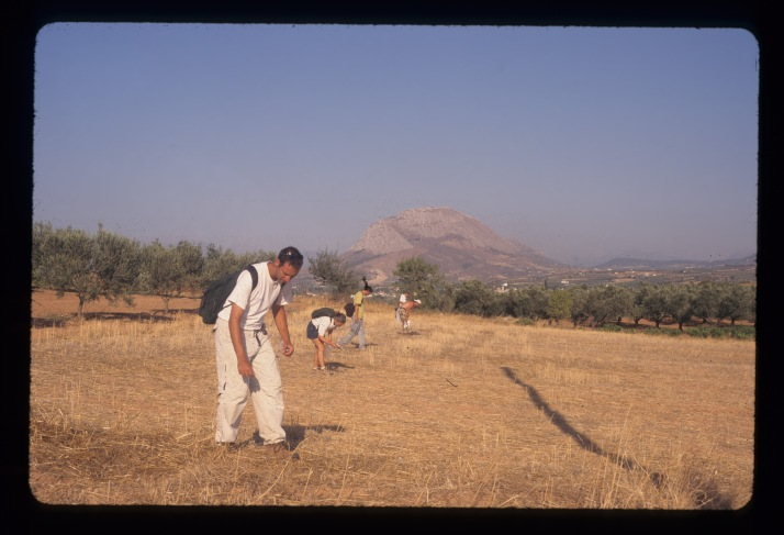 A view of fieldwalkers conducting pedestrian survey on the Isthmus of Corinth.